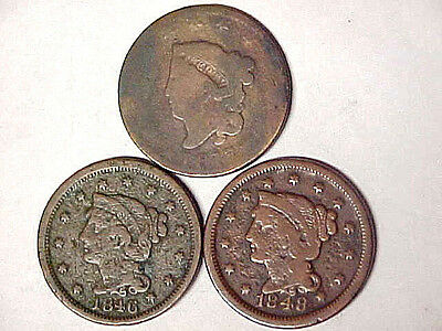 Lot of 3 Large Cents 1817 1846 1848 Circulated Big Pennies (82916)