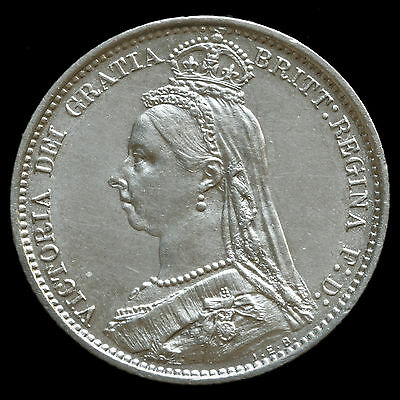 1888 Queen Victoria Jubilee Head Silver Sixpence – A/UNC