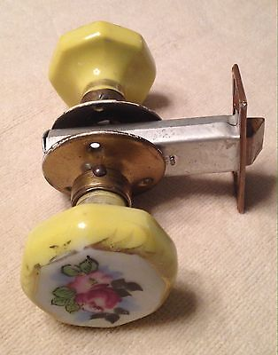 Vintage Porcelain Floral Rose Yellow Door Knobs