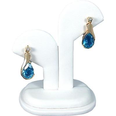 White Faux Leather Earring Display Stand Jewelry