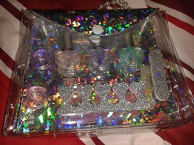 Clares Accessories Girls Nail Varnish X 3 Emery Board Sparkly Bag Brand New Rrp