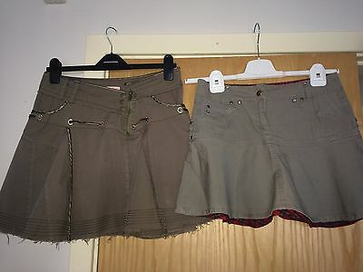 2 X Heaven And Angels Khaki Short Skirts For Girl Aged 13 Years - Good Condition
