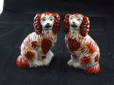 Pair Late Nineteenth Century Vintage Collectible Staffordshire dogs