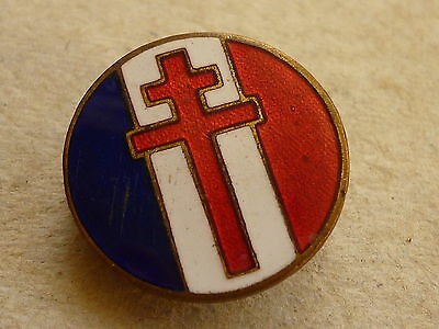 World War Two Free French Forces Lapel Badge Cross Of Lorraine