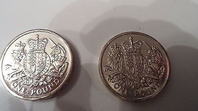 2 x THE ROYAL COAT OF ARMS 2015 £1 COINS. UNCIRCULATED