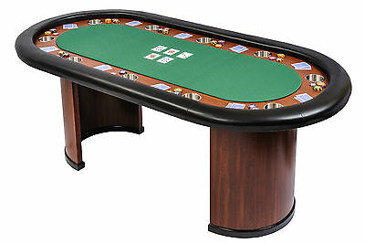 Riverboat Poker Table w/ Arc Legs in Suited Speed Cloth 213cm x 106cm (B Grade)