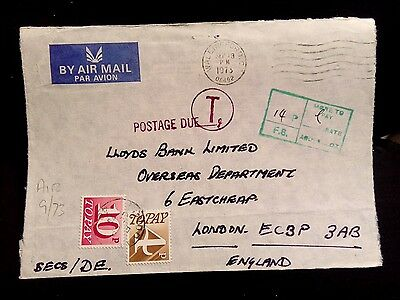 ENVELOPE WALLINGFORD LONDON 1973 Postage due stamps  underpaid