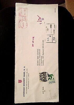 LONG ENVELOPE WASHINGTON USA TO LONDON 1981 Postage due stamps  underpaid