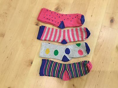 M&S Girls bundle 4 knitted spotted /stripes socks Shoe Size 4-7