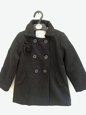 Girls Coat Age 4 Yrs Wool Blend Double Breasted Padded Quilted Lining Black Bnwt
