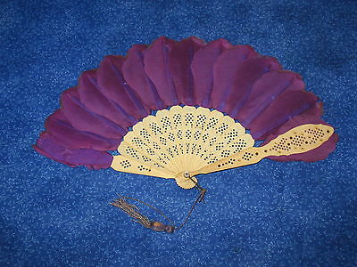 Antique Celluloid & Dyed Feathers Ladies Small Fainting Fan Art Deco Period