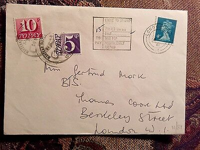 ENVELOPE LONDON 1981 Postage due stamps underpaid