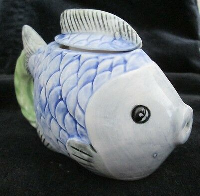 POTTERY TEAPOT ORNAMENT in shape of FISH