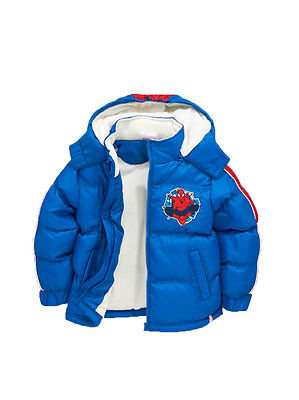 Spiderman Boys Padded Coat in Blue Size 4 Years