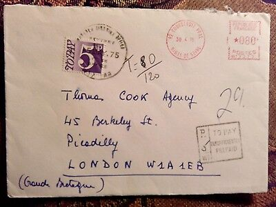 ENVELOPE COURBEVOIE FRANCE LONDON 1975 Postage due stamps underpaid