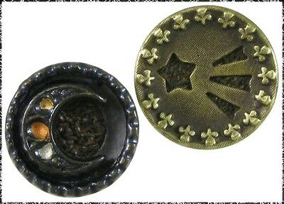 2 Small Victorian Metal Buttons - Moon & Shooting Star, Woven Fabric Background