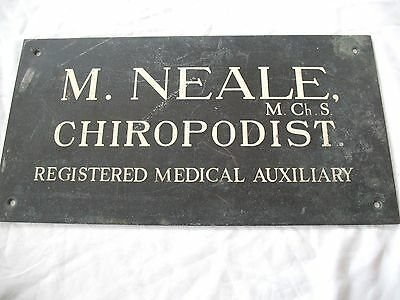 Old antique reclaim salvaged Bronze CHIROPODIST Medical Auxiliary plaque sign
