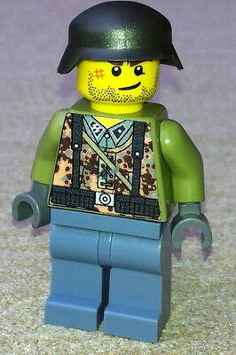 1 GERMAN SS soldier WW2 custom figure camouflage built using lego parts