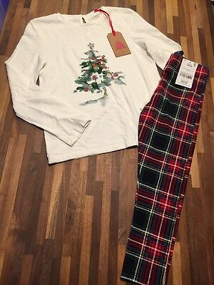 NEXT Girls Tartan Leggings And Christmas Tree Print Long Sleeve Top Age 5-6 BNWT