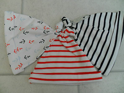 3 New Next Red & Navy Striped / Anchor Design Hats Age 12-18 Months BNWT