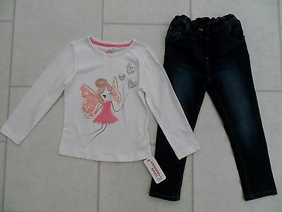 Girls George Skinny Denim Jeans & New Primark Fairy Top Outfit Age 3/4 Years
