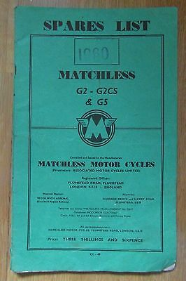 Matchless Motorcycle 1960 Spares List for G2 - G2CS & G5