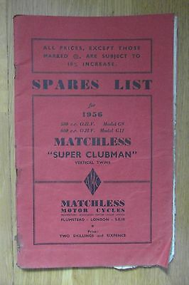 Matchless Motorcycle 1956 Spares List for Super Clubman 500cc G9, 600cc G11