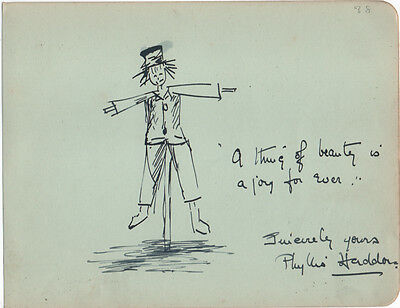 SCARECROW - BEAUTIFUL ORIGINAL INK DRAWING CARTOON ILLUSTRATION c.1914