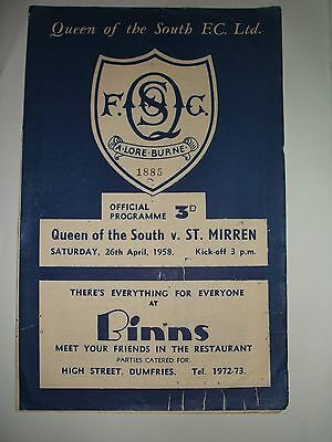 Queen Of The South   V   St  Mirren    26-04-1958