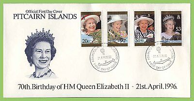 Pitcairn Islands 1996 70th Birthday of QEII set on First Day Cover