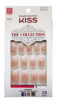 KISS 24 Glue/Press-On Nails FLANNEL Collection HOLIDAY Iridescent Glitter OVAL