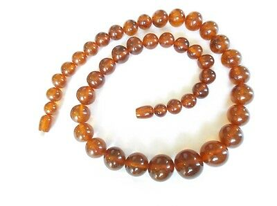 """Vintage Genuine Amber Graduated Bead Necklace- 20"""" Long"""