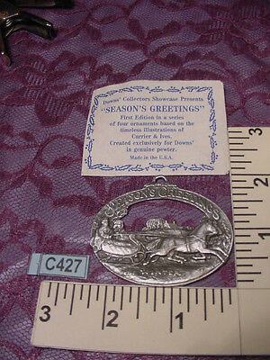 Seasons Greetings Pewter Currier & Ives Ornament 1st Edition DOWNS Collection 90