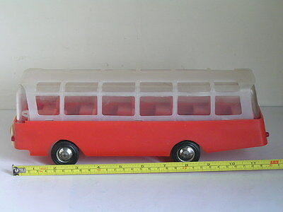 Vintage German Ddr Plastic Bus Coach Psw Red Free Wheels Rare Toy 1Ft