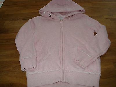 Next Pink Marl Girls Hooded Zip Front Top.age 7 Years.