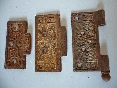 Lot Of 3 Antique Ornate Cast Iron Door Hinges Victorian Architectural Salvage
