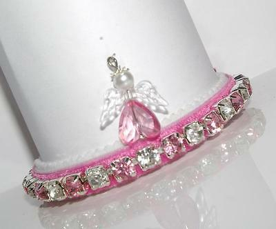 ROSE PINK GUARDIAN ANGEL CHARM made with SWAROVSKI CRYSTAL CAT COLLAR