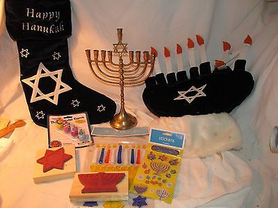 Jewish Hanukkah Chanukah Lot: Stamp Pads,Sticker, Dreidel, Menorah, Decorations