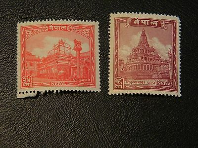 Nepal Stamp SG 68,70 issued 1949 values 16p and 24p Mint Never Hinged.