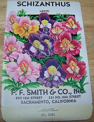 Vintage 1920s Seed packet 4 framing Schizanthus mixed  FF Smith co Sacramento CA