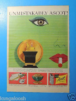 1952 Unmistakably Ascot! The Pagoda Set Lighter Art Ad