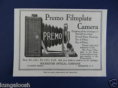 1906 Premo Filmplate Camera Rochester Optical Company Sales Art Ad