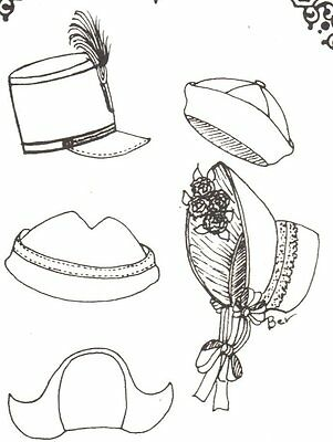 5 Doll HAT SEWING Patterns fits head size 8c.10c.12c.14c.  260
