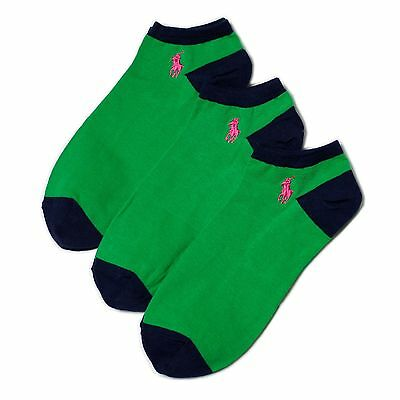 New Women's Polo Ralph Lauren Contrasting Low-Profile Socks 3Pair