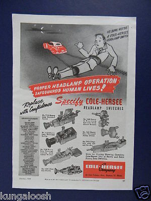 1949 Cole-Hersee Company Headlamp Switches Sales Promo Art Ad