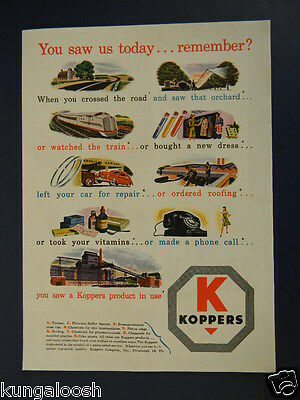 1946 You Saw Us Today...remember?  Koppers Industrial Co. Products Promo Art Ad