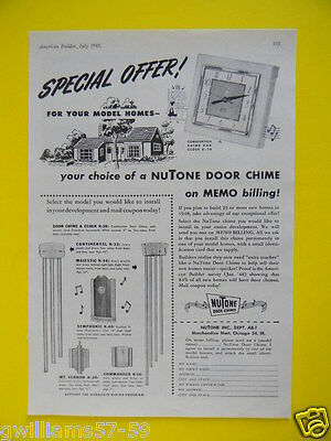 1948 Nutone Door Chime And Clock Sales Art Ad