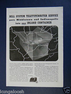 1937 Bell System Teletypewriter Service Middletown & Indianapolis Promo Art Ad