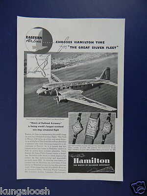 1937 Eastern Airlines Silverliners Over Miami Hamiliton Watch Sales Art Ad