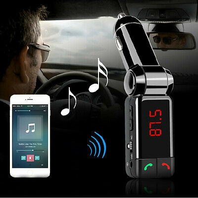 LCD Bluetooth Car Kit MP3 FM Transmitter USB Charger Handsfree For iPhone B6M9
